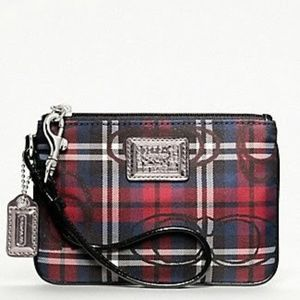 Coach | Poppy Red Plaid Small Wristlet